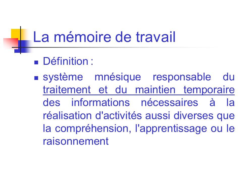 La mémoire de travail Définition : système mnésique responsable du traitement et du maintien temporaire des informations nécessaires à la réalisation