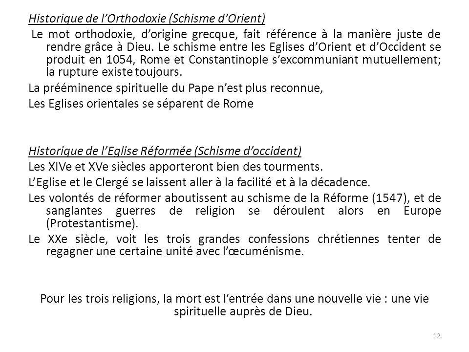Historique de lOrthodoxie (Schisme dOrient) Le mot orthodoxie, dorigine grecque, fait référence à la manière juste de rendre grâce à Dieu.