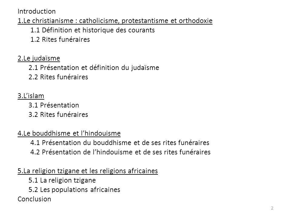 Introduction 1.Le christianisme : catholicisme, protestantisme et orthodoxie 1.1 Définition et historique des courants 1.2 Rites funéraires 2.Le judaïsme 2.1 Présentation et définition du judaïsme 2.2 Rites funéraires 3.Lislam 3.1 Présentation 3.2 Rites funéraires 4.Le bouddhisme et lhindouisme 4.1 Présentation du bouddhisme et de ses rites funéraires 4.2 Présentation de lhindouisme et de ses rites funéraires 5.La religion tzigane et les religions africaines 5.1 La religion tzigane 5.2 Les populations africaines Conclusion 2