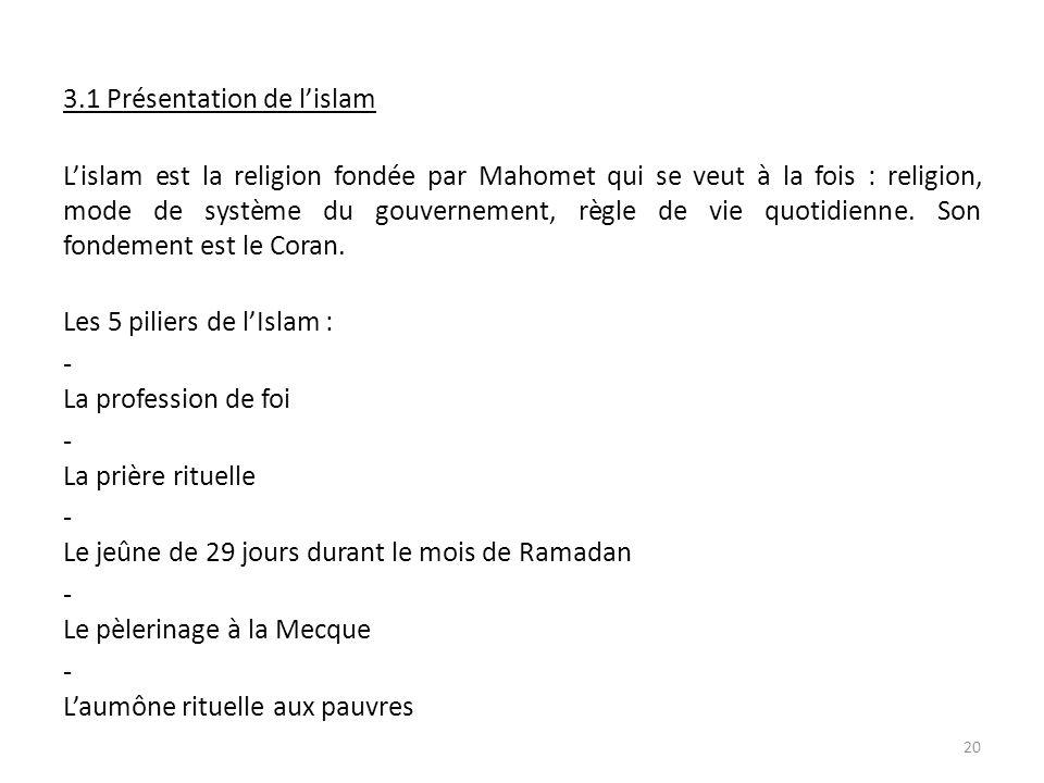 3 3.1 Présentation de lislam L Lislam est la religion fondée par Mahomet qui se veut à la fois : religion, mode de système du gouvernement, règle de vie quotidienne.