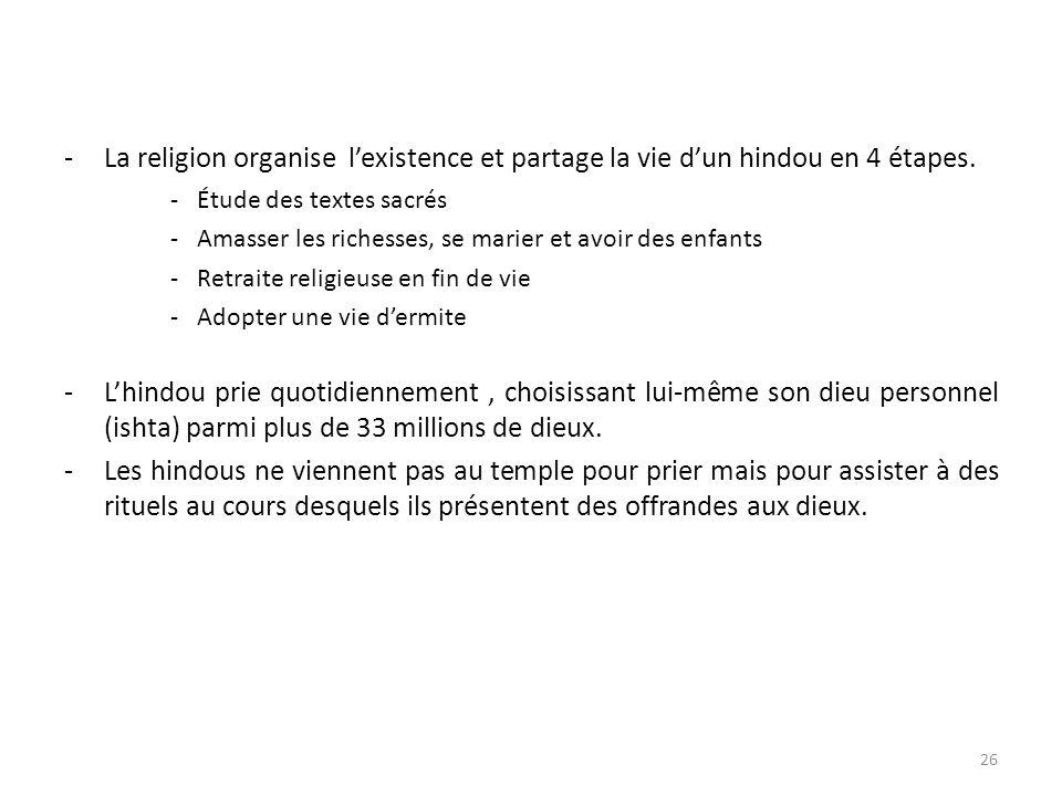 -La religion organise lexistence et partage la vie dun hindou en 4 étapes.