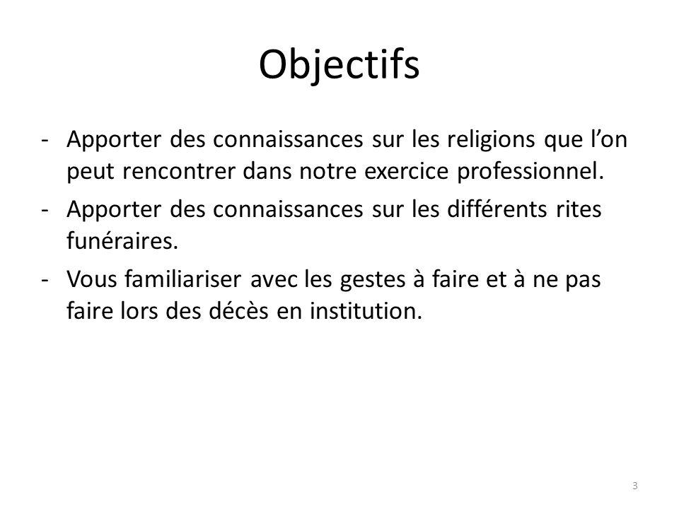 Objectifs -Apporter des connaissances sur les religions que lon peut rencontrer dans notre exercice professionnel.