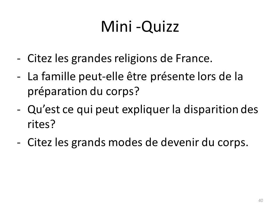 Mini -Quizz -Citez les grandes religions de France.