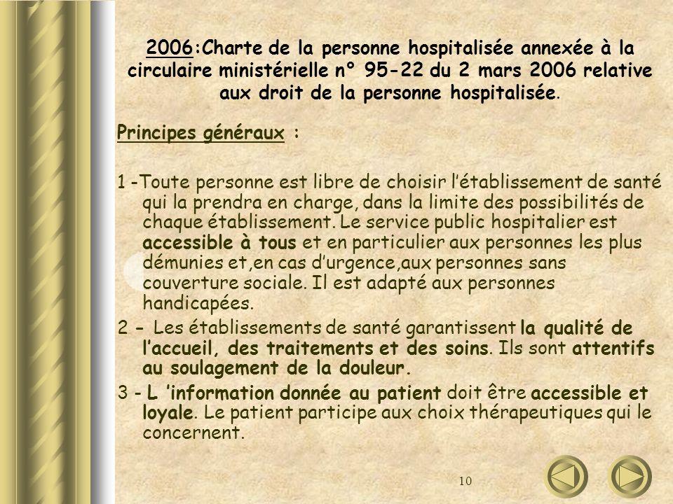 10 2006:Charte de la personne hospitalisée annexée à la circulaire ministérielle n° 95-22 du 2 mars 2006 relative aux droit de la personne hospitalisé