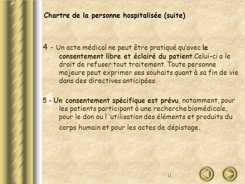 11 Chartre de la personne hospitalisée (suite) 4 - Un acte médical ne peut être pratiqué quavec le consentement libre et éclairé du patient.Celui-ci a