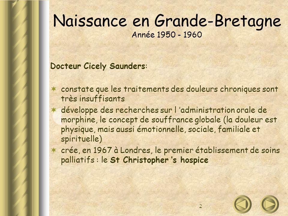 2 Naissance en Grande-Bretagne Année 1950 - 1960 Docteur Cicely Saunders: constate que les traitements des douleurs chroniques sont très insuffisants