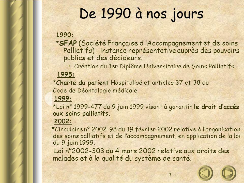 5 De 1990 à nos jours 1990: * SFAP (Société Française d Accompagnement et de soins Palliatifs) : instance représentative auprès des pouvoirs publics e
