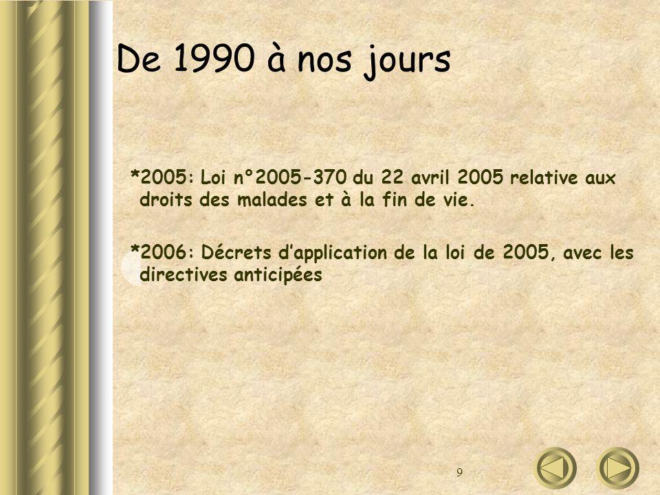 9 De 1990 à nos jours *2005: Loi n°2005-370 du 22 avril 2005 relative aux droits des malades et à la fin de vie. *2006: Décrets dapplication de la loi