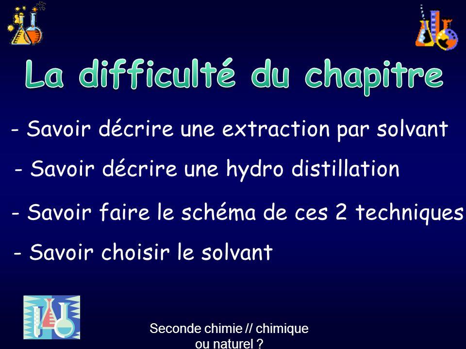 - Savoir décrire une extraction par solvant - Savoir décrire une hydro distillation - Savoir faire le schéma de ces 2 techniques - Savoir choisir le s