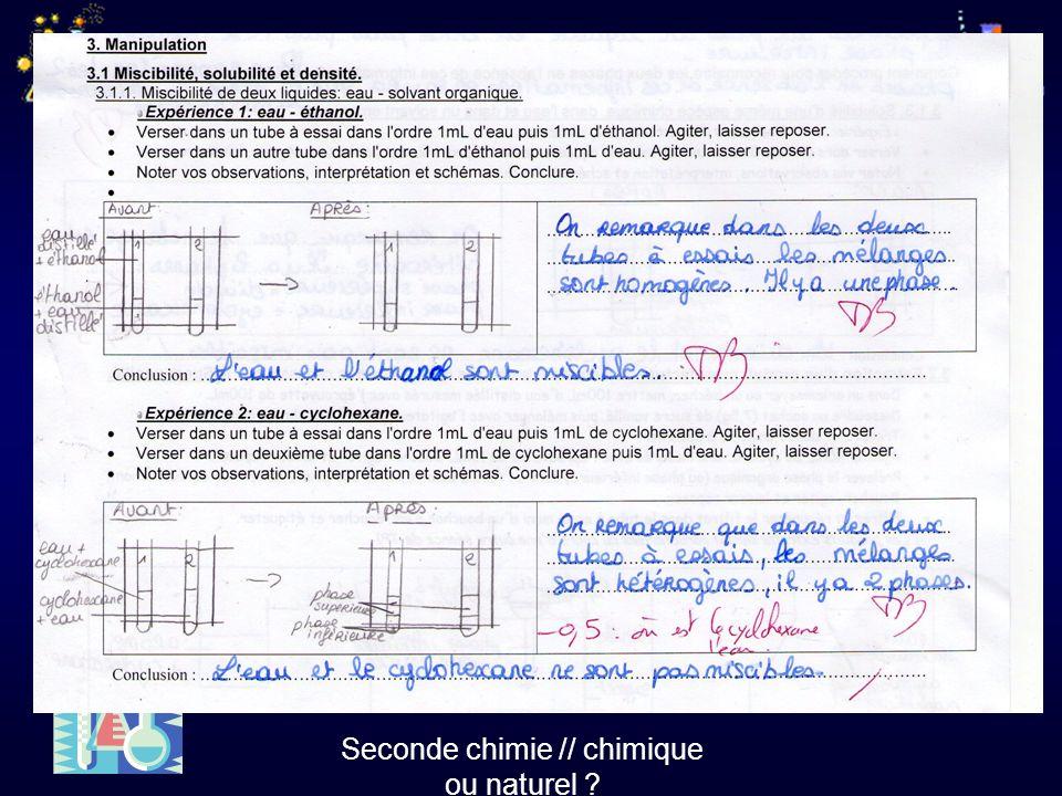 Seconde chimie // chimique ou naturel ?