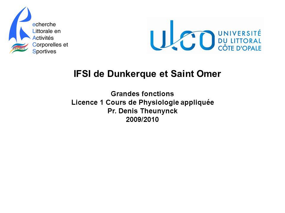 Grandes fonctions Licence 1 Cours de Physiologie appliquée Pr. Denis Theunynck 2009/2010 IFSI de Dunkerque et Saint Omer
