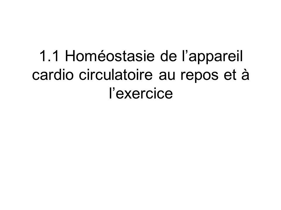 1.1 Homéostasie de lappareil cardio circulatoire au repos et à lexercice