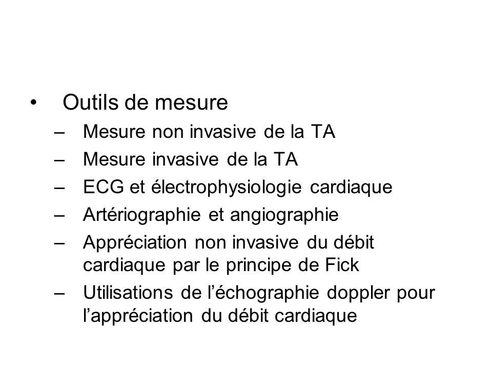 Outils de mesure –Mesure non invasive de la TA –Mesure invasive de la TA –ECG et électrophysiologie cardiaque –Artériographie et angiographie –Appréci