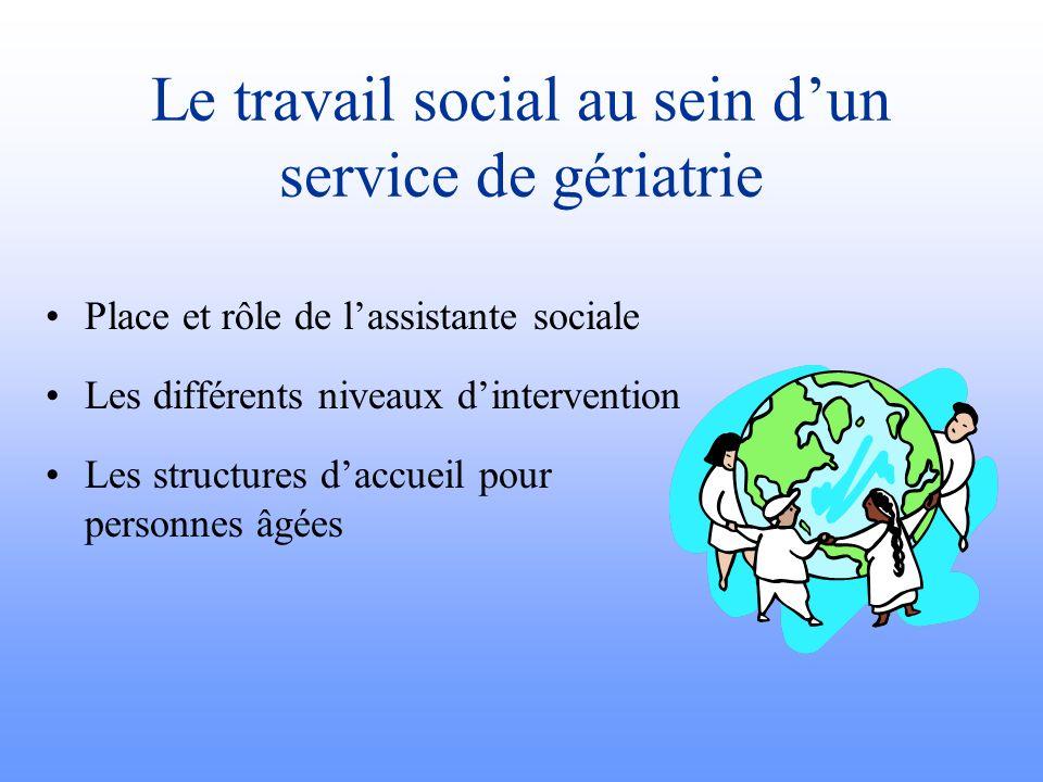 Le travail social au sein dun service de gériatrie Place et rôle de lassistante sociale Les différents niveaux dintervention Les structures daccueil p