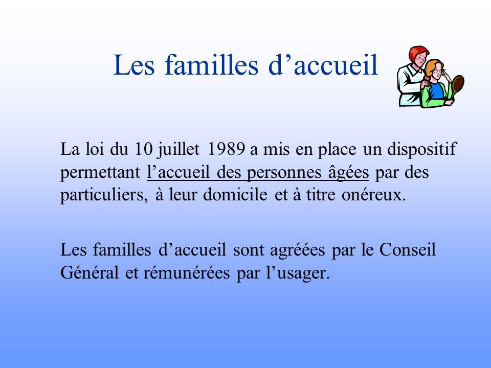Les familles daccueil La loi du 10 juillet 1989 a mis en place un dispositif permettant laccueil des personnes âgées par des particuliers, à leur domi