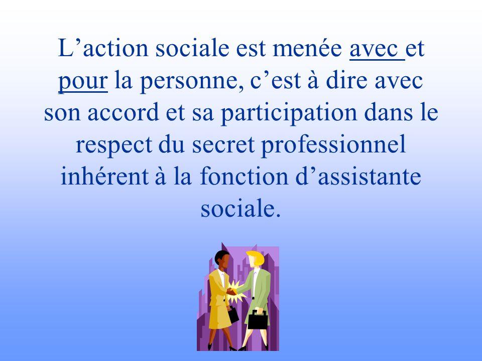 Laction sociale est menée avec et pour la personne, cest à dire avec son accord et sa participation dans le respect du secret professionnel inhérent à
