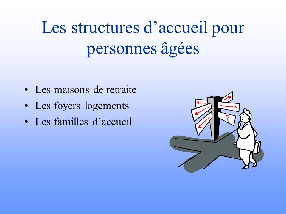 Les structures daccueil pour personnes âgées Les maisons de retraite Les foyers logements Les familles daccueil