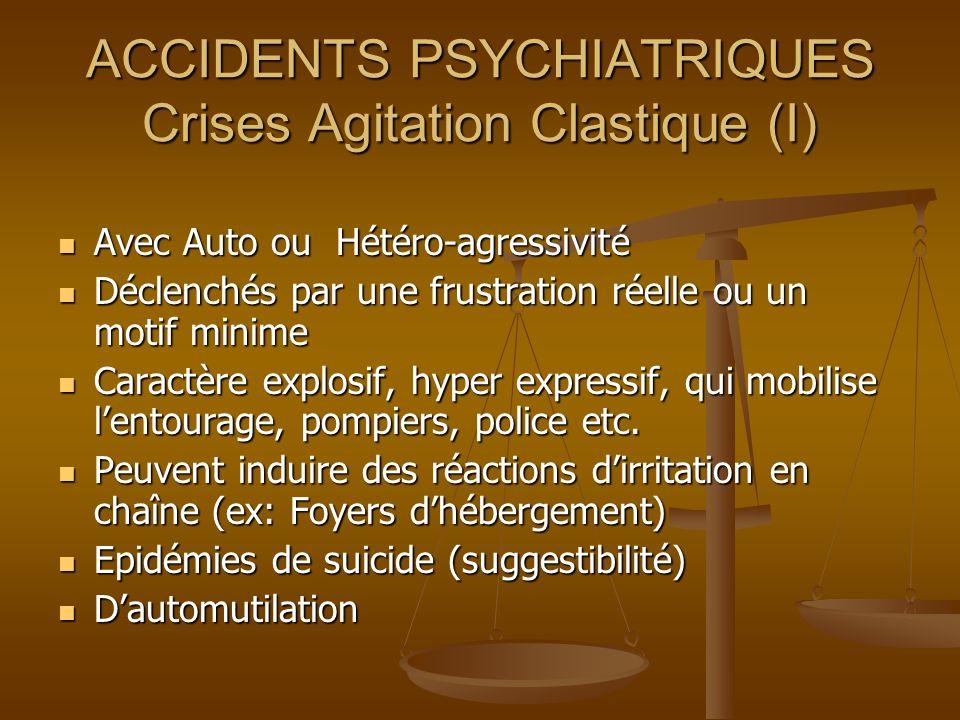 ACCIDENTS PSYCHIATRIQUES Crises Agitation Clastique (I) Avec Auto ou Hétéro-agressivité Avec Auto ou Hétéro-agressivité Déclenchés par une frustration