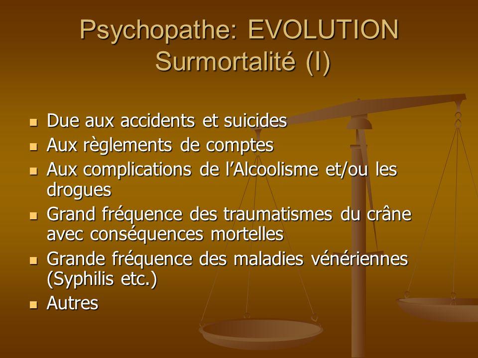 Psychopathe: EVOLUTION Surmortalité (I) Due aux accidents et suicides Due aux accidents et suicides Aux règlements de comptes Aux règlements de compte