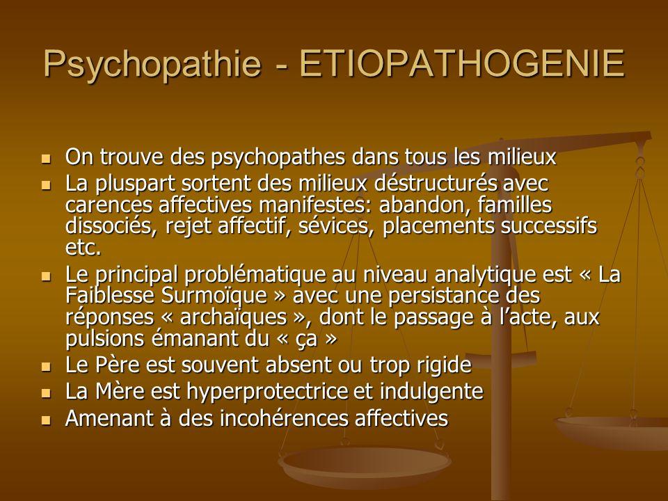Psychopathie - ETIOPATHOGENIE On trouve des psychopathes dans tous les milieux On trouve des psychopathes dans tous les milieux La pluspart sortent de