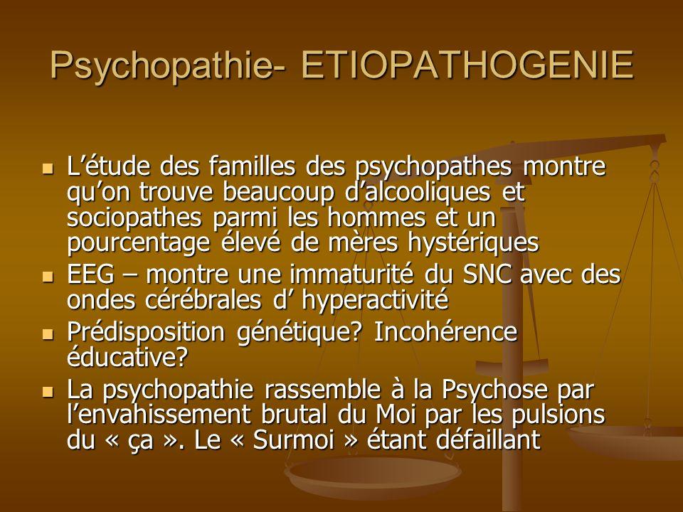 Psychopathie- ETIOPATHOGENIE Létude des familles des psychopathes montre quon trouve beaucoup dalcooliques et sociopathes parmi les hommes et un pourc
