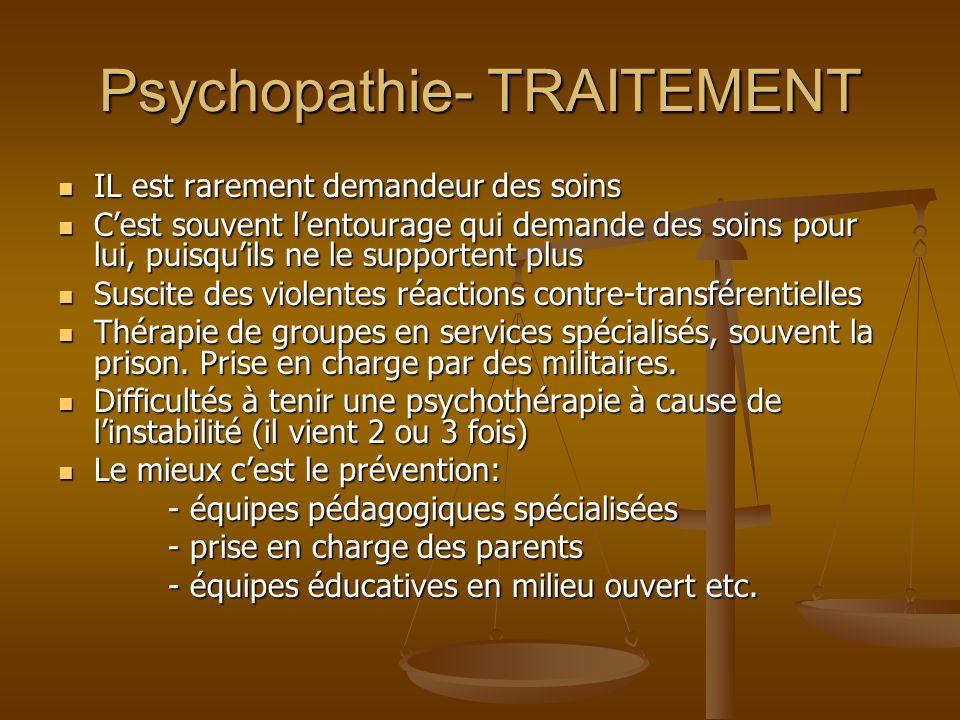 Psychopathie- TRAITEMENT IL est rarement demandeur des soins IL est rarement demandeur des soins Cest souvent lentourage qui demande des soins pour lu