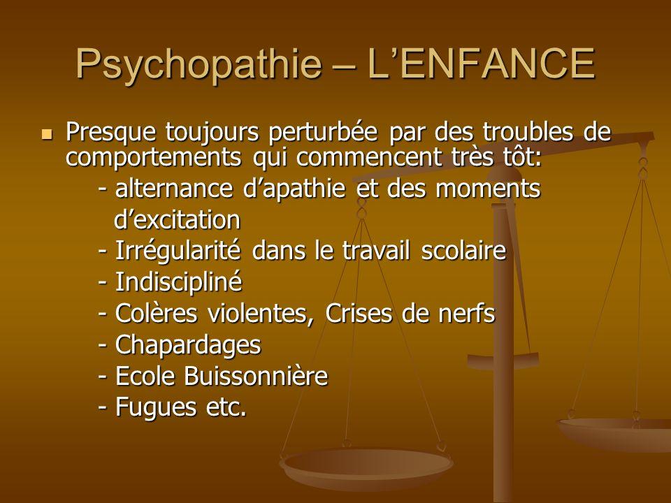 Psychopathie – LENFANCE Presque toujours perturbée par des troubles de comportements qui commencent très tôt: Presque toujours perturbée par des troub