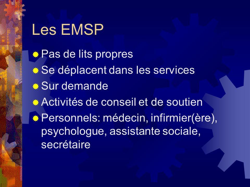Les EMSP Pas de lits propres Se déplacent dans les services Sur demande Activités de conseil et de soutien Personnels: médecin, infirmier(ère), psycho