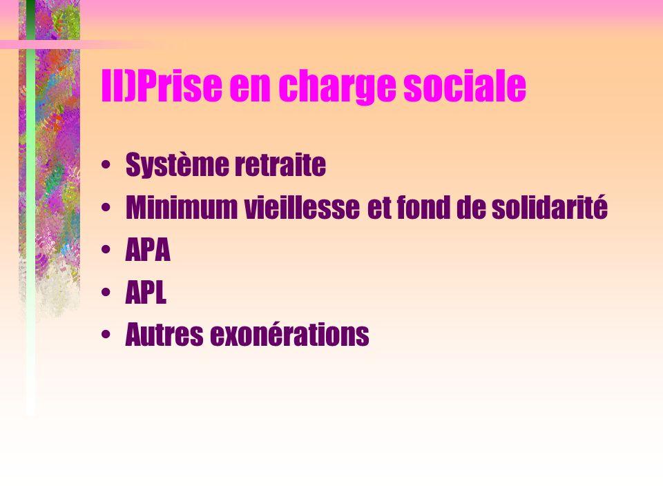 II)Prise en charge sociale Système retraite Minimum vieillesse et fond de solidarité APA APL Autres exonérations