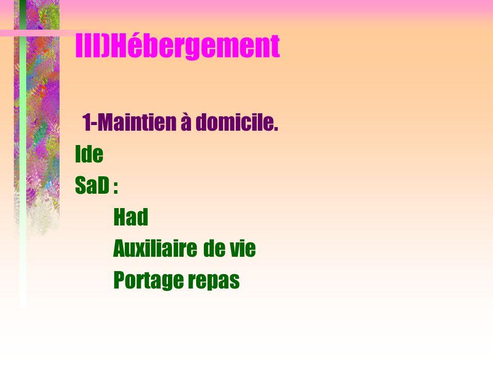 III)Hébergement 1-Maintien à domicile. Ide SaD : Had Auxiliaire de vie Portage repas