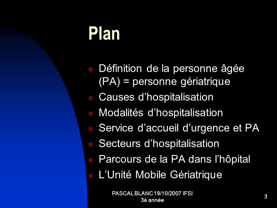 PASCAL BLANC 19/10/2007 IFSI 3è année 3 Plan Définition de la personne âgée (PA) = personne gériatrique Causes dhospitalisation Modalités dhospitalisa