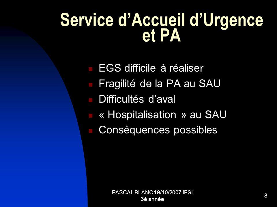 PASCAL BLANC 19/10/2007 IFSI 3è année 8 Service dAccueil dUrgence et PA EGS difficile à réaliser Fragilité de la PA au SAU Difficultés daval « Hospita
