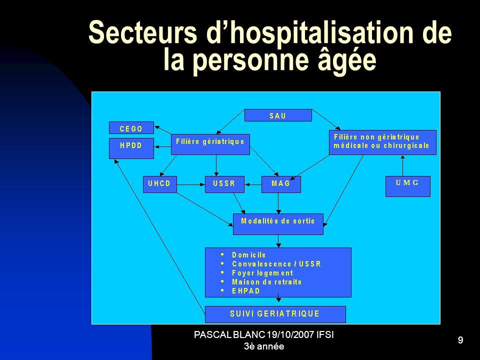 PASCAL BLANC 19/10/2007 IFSI 3è année 9 Secteurs dhospitalisation de la personne âgée