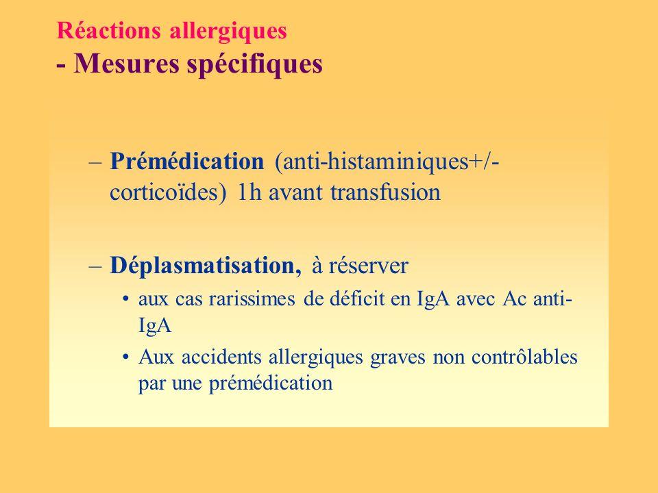 Réactions allergiques - Mesures spécifiques –Prémédication (anti-histaminiques+/- corticoïdes) 1h avant transfusion –Déplasmatisation, à réserver aux