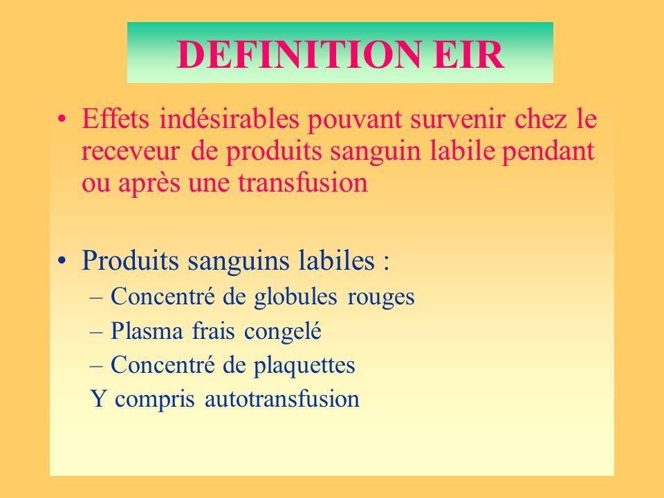 DEFINITION EIR Effets indésirables pouvant survenir chez le receveur de produits sanguin labile pendant ou après une transfusion Produits sanguins lab