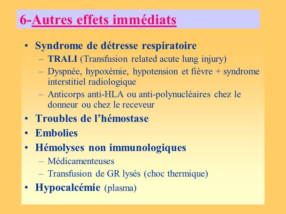 6-Autres effets immédiats Syndrome de détresse respiratoire –TRALI (Transfusion related acute lung injury) –Dyspnée, hypoxémie, hypotension et fièvre