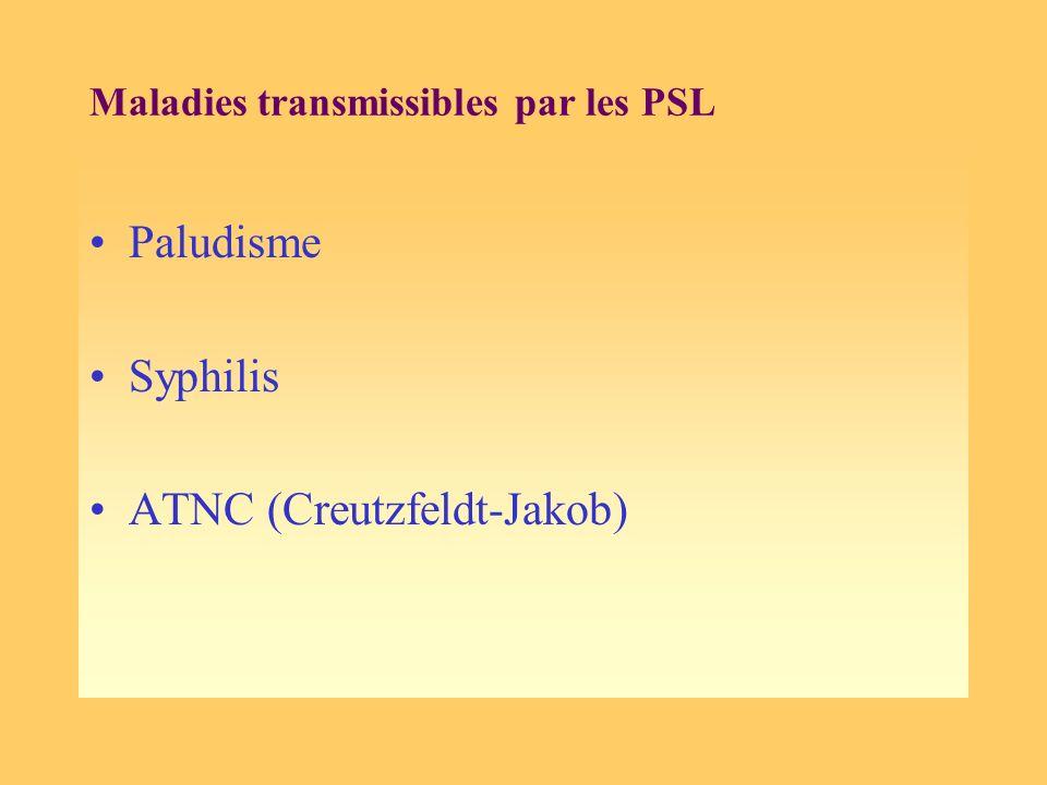Maladies transmissibles par les PSL Paludisme Syphilis ATNC (Creutzfeldt-Jakob)