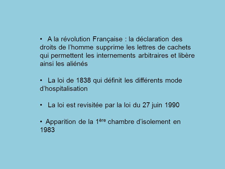 A la révolution Française : la déclaration des droits de lhomme supprime les lettres de cachets qui permettent les internements arbitraires et libère