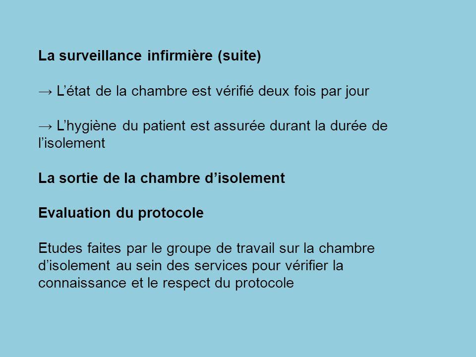 La surveillance infirmière (suite) Létat de la chambre est vérifié deux fois par jour Lhygiène du patient est assurée durant la durée de lisolement La