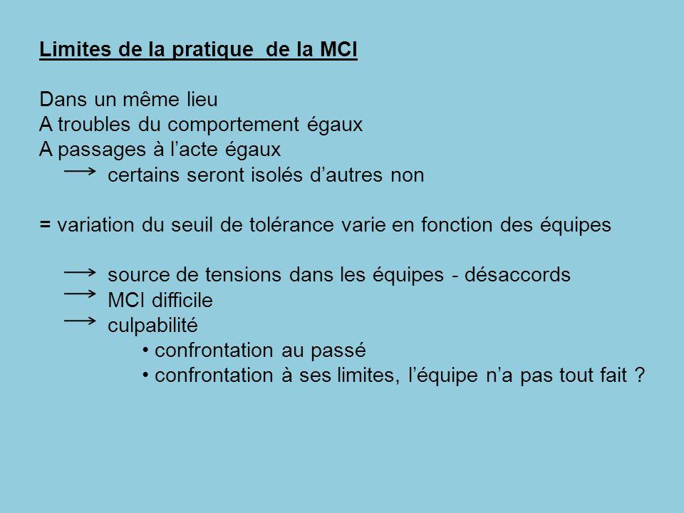Limites de la pratique de la MCI Dans un même lieu A troubles du comportement égaux A passages à lacte égaux certains seront isolés dautres non = vari