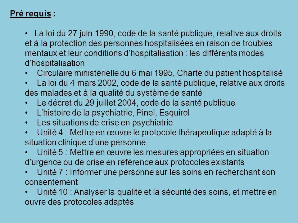 Pré requis : La loi du 27 juin 1990, code de la santé publique, relative aux droits et à la protection des personnes hospitalisées en raison de troubl
