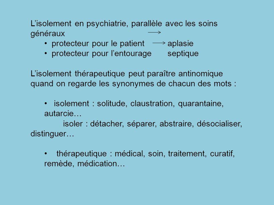 Lisolement en psychiatrie, parallèle avec les soins généraux protecteur pour le patient aplasie protecteur pour lentourageseptique Lisolement thérapeu