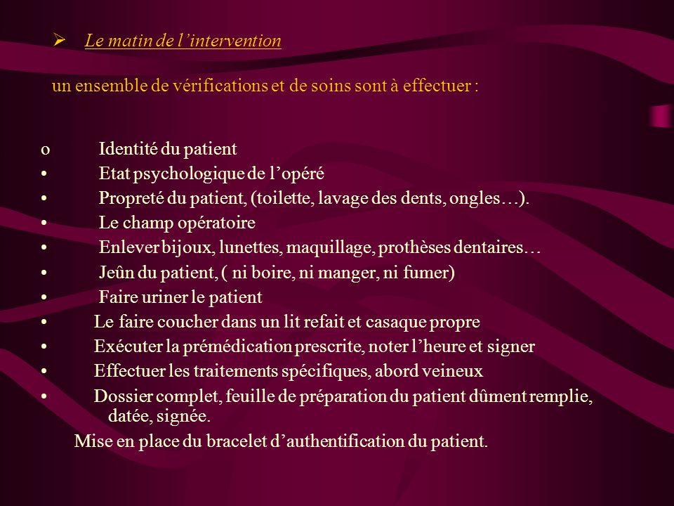 La consultation danesthésie acte médico-légal création dun dossier danesthésie. La veille de lintervention prendre connaissance et réaliser les prescr