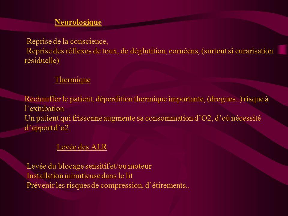 Respiratoire Si reprise de la ventilation spontanée : Lamplitude respiratoire, la fréquence, la saturation en O2 Extubation selon des critères spécifi