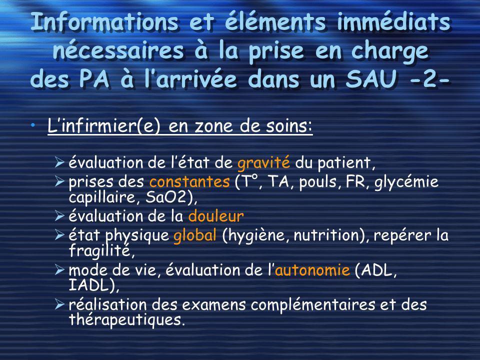 Informations et éléments immédiats nécessaires à la prise en charge des PA à larrivée dans un SAU -2- Linfirmier(e) en zone de soins: évaluation de lé