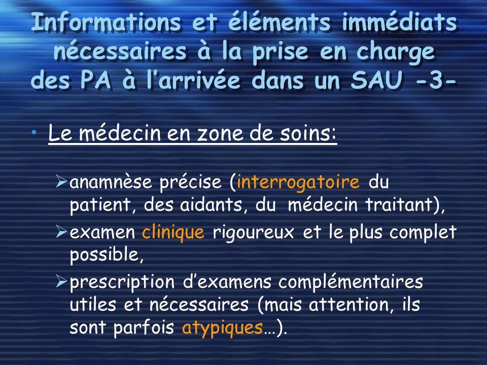 Informations et éléments immédiats nécessaires à la prise en charge des PA à larrivée dans un SAU -3- Le médecin en zone de soins: anamnèse précise (i