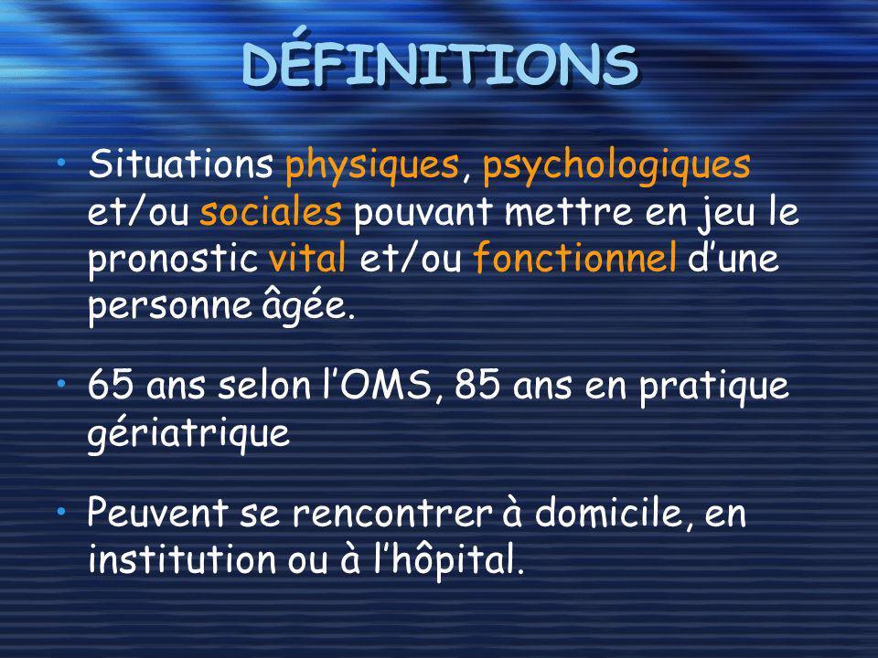 DÉFINITIONS Situations physiques, psychologiques et/ou sociales pouvant mettre en jeu le pronostic vital et/ou fonctionnel dune personne âgée. 65 ans