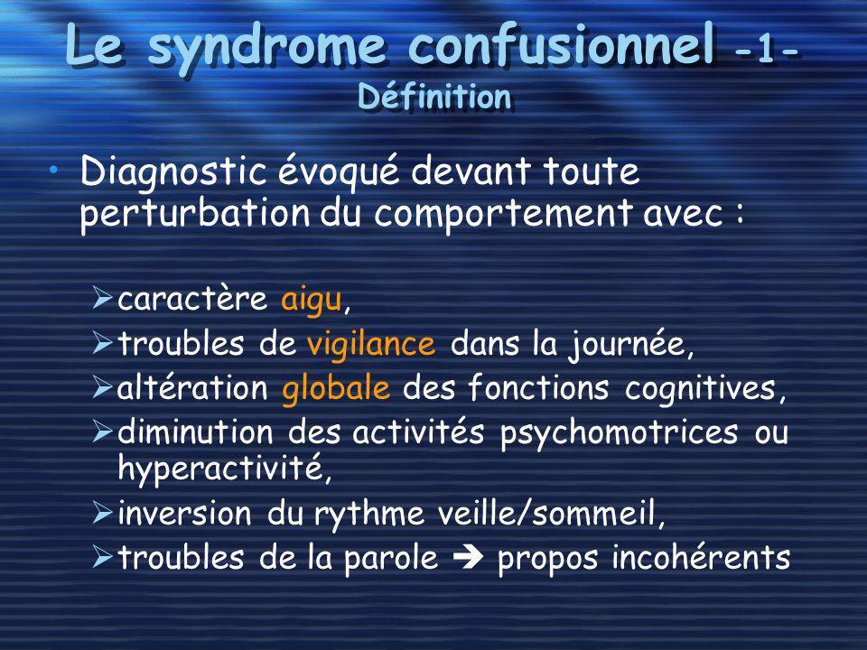 Le syndrome confusionnel -1- Définition Diagnostic évoqué devant toute perturbation du comportement avec : caractère aigu, troubles de vigilance dans
