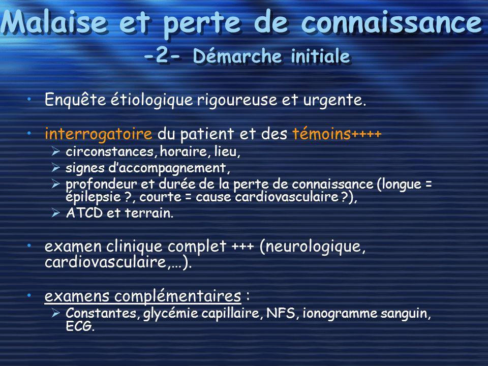 Malaise et perte de connaissance -2- Démarche initiale Enquête étiologique rigoureuse et urgente. interrogatoire du patient et des témoins++++ circons