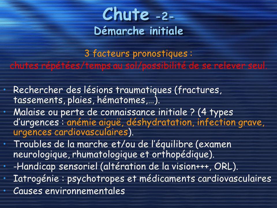 Chute -2- Démarche initiale 3 facteurs pronostiques : chutes répétées/temps au sol/possibilité de se relever seul. Rechercher des lésions traumatiques